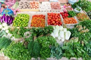 49164703 - fresh vegetable in wet market in laos