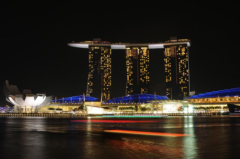 シンガポール マリーナベイ サンズの夜景