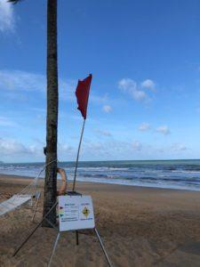 赤、黄、緑で波の高さを教えてくれます。滞在中は赤と黄の旗が交互に上がってました
